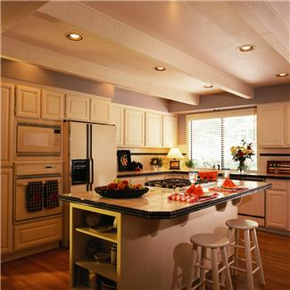 picture of kitchen illustrating adhesives used in constructing cabinets, coutertops, and more
